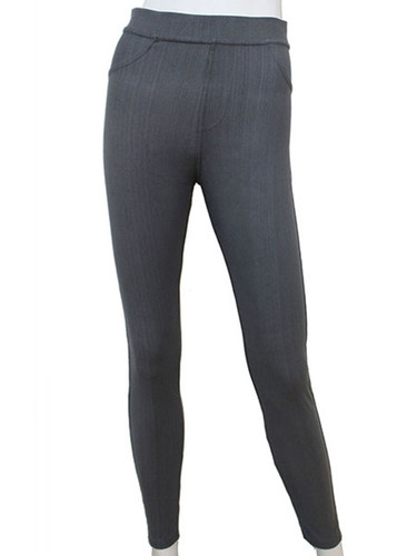 Compression Faux Jeggings with Dotted Lines Grey
