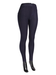 Compression Faux Jeggings with Dotted Lines Navy