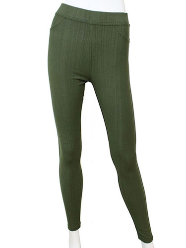 Compression Faux Jeggings with Dotted Lines Olive