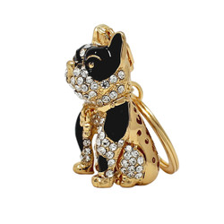 Rhinestone Boxer Dog Keychain Gold
