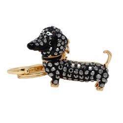 Rhinestone Dachshund Dog Keychain Black