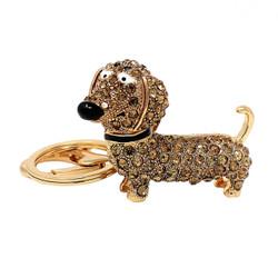 Rhinestone Dachshund Dog Keychain Gold