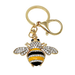 Rhinestone Bumblebee Keychain Bag Charm