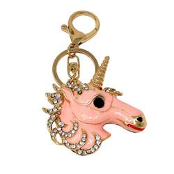 Rhinestone Unicorn Keychain Bag Charm Pink