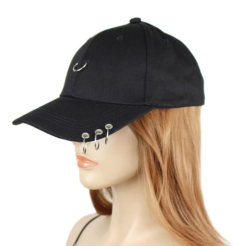 3 Rings Pierced Baseball Cap Black Cotton Hat