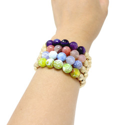 Set of 4 Semi Precious Beads Stretch Bracelets