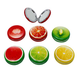 Set of 6 Fruits Compact Mirror Round