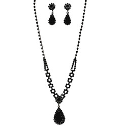 Rhinestone Teardrop Necklace Earrings Set Black