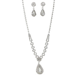 Rhinestone Teardrop Necklace Earrings Set Silver