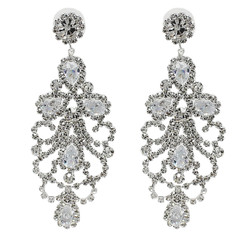 Cubic Zirconia Chandelier Earrings 3 Inches Clear
