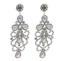 Cubic Zirconia Chandelier Earrings 3 Inches AB Crystals