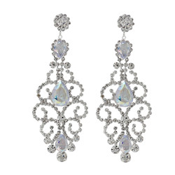 Cubic Zirconia Chandelier Earrings 3.25 Inches AB Crystals