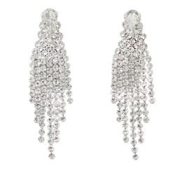 Cubic Zirconia Cascade Tassel Earrings Silver