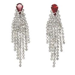 Cubic Zirconia Cascade Tassel Earrings Red