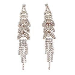 Cubic Zirconia Multi-Tier Cascade Tassel Earrings Gold