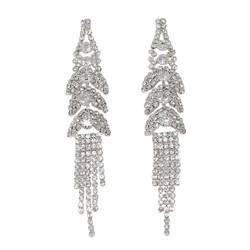 Cubic Zirconia Multi-Tier Cascade Tassel Earrings Silver