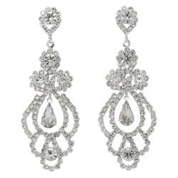 Cubic Zirconia Chandelier Earrings 2.5 Inches Clear