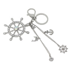 Anchor and Wheel Chains Keychain Bag Charm Silver