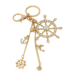 Anchor and Wheel Chains Keychain Bag Charm Gold
