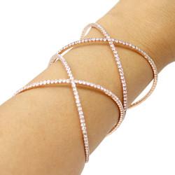 Wide Double Criss Cross Adjustable Cuff Bracelet Rose Gold