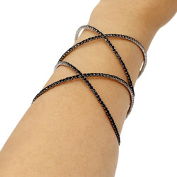 Wide Double Criss Cross Adjustable Cuff Bracelet Black