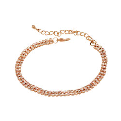 2 Row Cubic Zirconia Tennis Bracelet Rose Gold