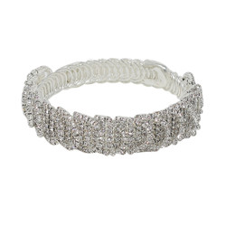 Wrap Around Rhinestone Circles Bangle Bracelet Silver