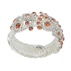 Wrap Around Rhinestone Flowers Wide Bangle Bracelet Citrine