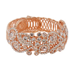 Wrap Around Rhinestone Flowers Wide Bangle Bracelet Rose Gold