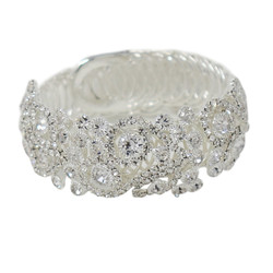 Wrap Around Rhinestone Flowers Wide Bangle Bracelet Silver