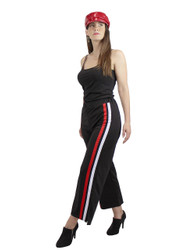 2 Stripe Wide-Leg Palazzo Pants Black and red