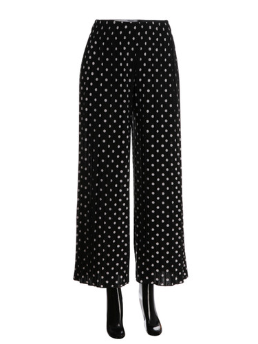 Polka Dot Pleated Palazzo Pants Wide-Leg Black and White
