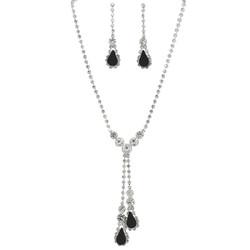 Rhinestone Double Drop Y-shape Necklace Earrings Set Black Silver Tone