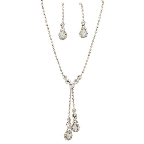 Rhinestone Double Drop Y-shape Necklace Earrings Set Gold Tone