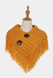 Cable Knit Button Collar Scarf Mustard