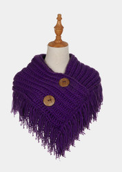 Cable Knit Button Collar Scarf Purple