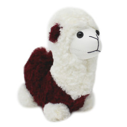"Cute Plush Llama Keychain Purse Charm 5""H burgundy"