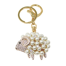 Cute Sheep Crystal and Pearls Purse Charm Keychain