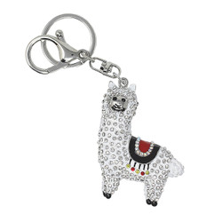 llama purse bag charm keychain white