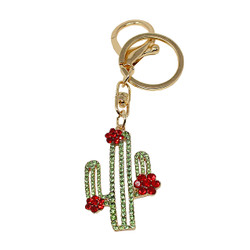 Cactus Charm Keychain Crystals Gold