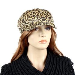 Leopard Print Baker Boy Cap Soft Felt