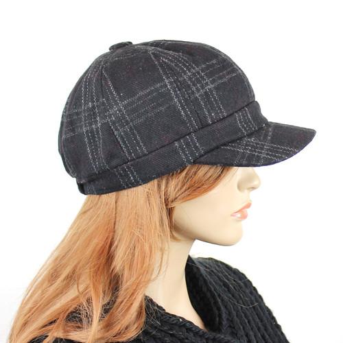 Baker Boy Tweed Cap Black Plaid