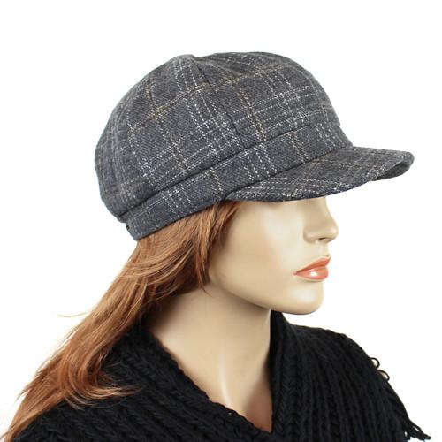 Baker Boy Tweed Cap Grey Plaid