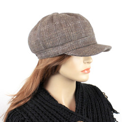 Baker Boy Tweed Cap Khaki Plaid