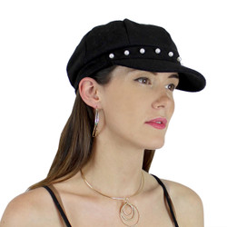 Baker Boy Sueded Cap with Faux Pearls Black