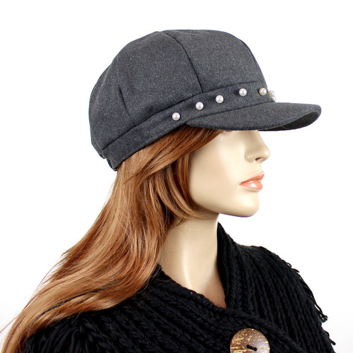 Baker Boy Sueded Cap with Faux Pearls Grey