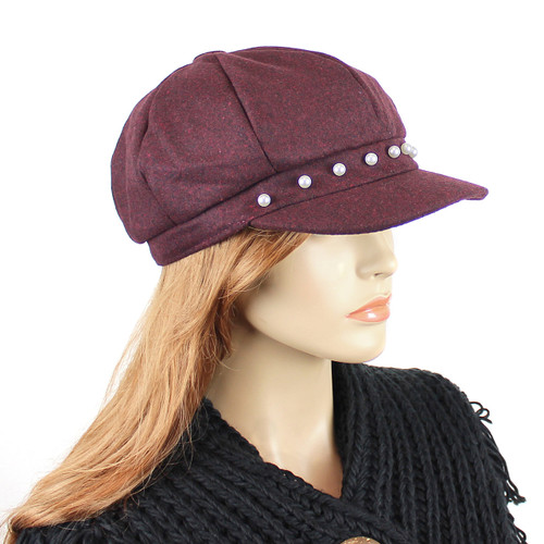 Baker Boy Sueded Cap with Faux Pearls Burgundy