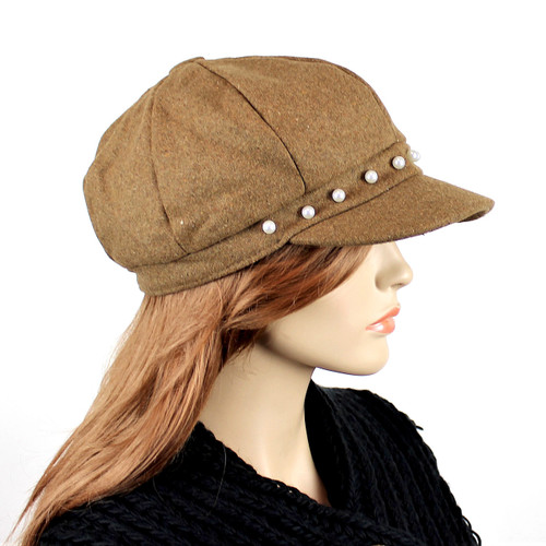Baker Boy Sueded Cap with Faux Pearls Khaki