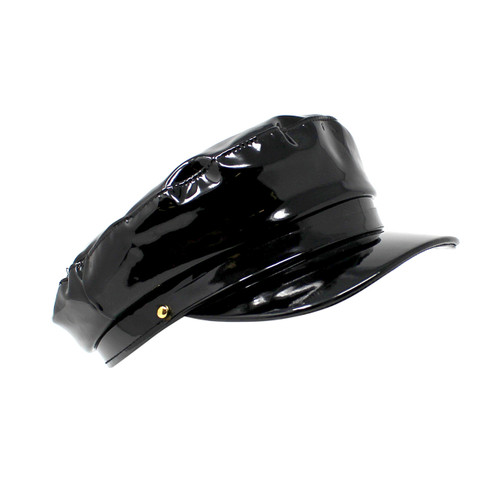 Newsboy Cap Faux Patent Leather Black