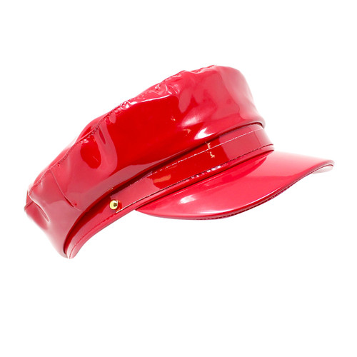 Newsboy Cap Faux Patent Leather Red